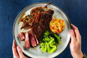 Dry-Brined New York Strips with Grilled Brown Butter Balsamic Onions
