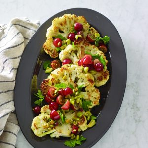 Cauliflower Steaks with Grapes